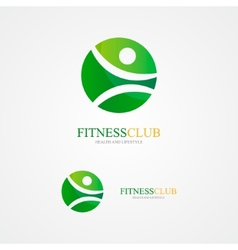 Set of colorful fitness logo vector