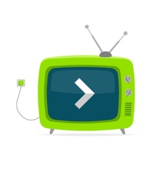 Green retro tv with arrow wire flat design vector
