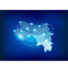 Guinea country map polygonal with spot lights plac vector