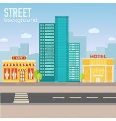 Hotel building in city space with road on flat vector