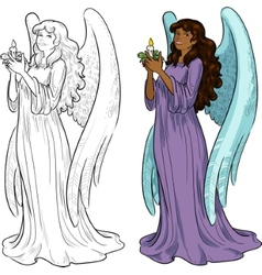 Beautiful african american female angel with vector