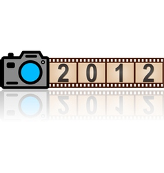 2012 new year camera with 35mm film vector