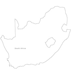 Black white south africa outline map vector