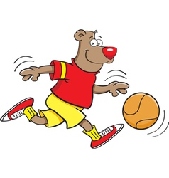 Cartoon basketball bear vector