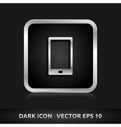 Mobile device smart phone icon silver metal vector