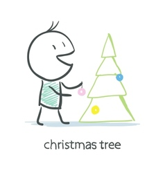 Man dresses up christmas tree vector