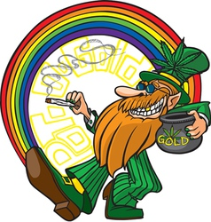 Pot o gold leprechaun vector