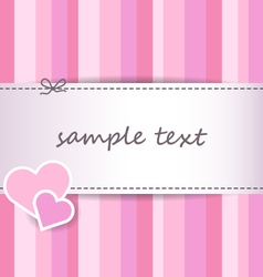 Striped pink valentine day greeting card vector