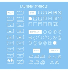 Set of line simple washing instruction symbols vector