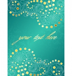 Turquoise background with delicate swirls vector