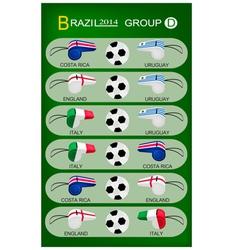 Soccer tournament of brazil 2014 group d vector