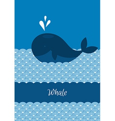 Blue whale with sea vector