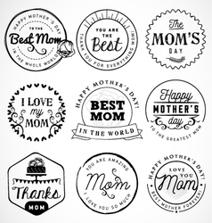 Mothers day badges and labels in vintage style vector