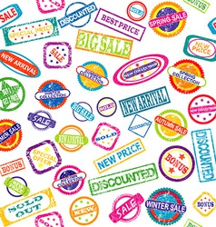 Seamless pattern with stamps with discount and vector