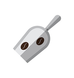Coffee metal scoop with coffee beans vector