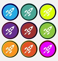 Rocket icon sign nine multi-colored round buttons vector