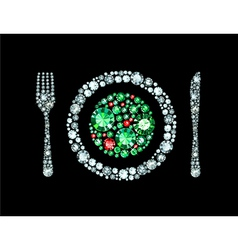 Diamond plate with knife and fork vector