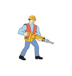 Construction worker holding jackhammer cartoon vector