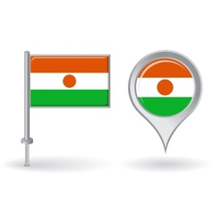Niger pin icon and map pointer flag vector