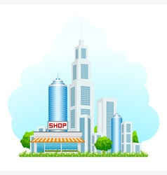 Shop building with cityscape vector