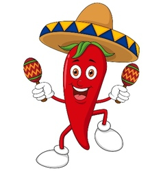 Happy chili pepper dancing with maracas vector