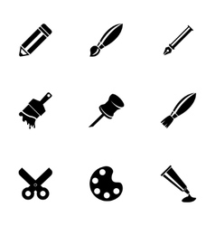 Black art tool icons set vector