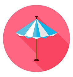 Flat summer sun parasol circle icon with long vector