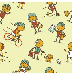 Seamless pattern with people of big city vector