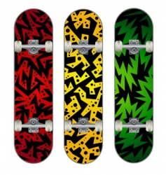 Three skateboard designs vector