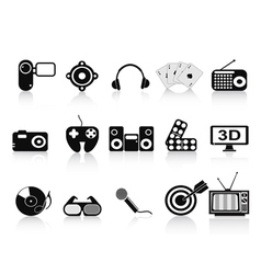 Black home entertainment icons set vector