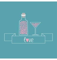 Martini glass and bottle with hearts inside ribbon vector