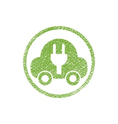 Green ecological electric car sign with hand drawn vector