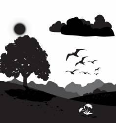 Monotone mountain scene vector