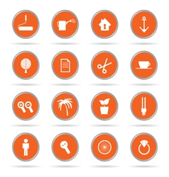 Set of icon in orange circle vector