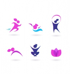 Women sport and fit icons vector
