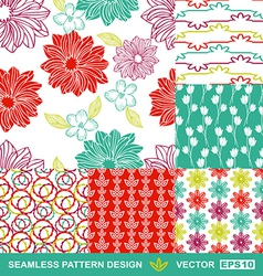 Retro backgrounds flowers geometric ornaments vector