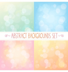 Abstract backgrounds with bokeh colorful set vector