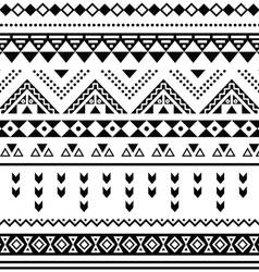 Tibal seamless pattern black aztec print on white vector