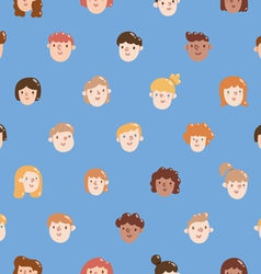 Boys and girls colorful faces seamless pattern vector