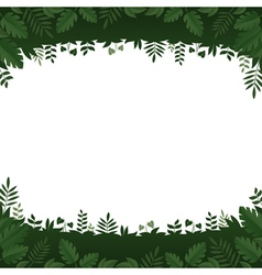 Green leaves and plants frame on white background vector