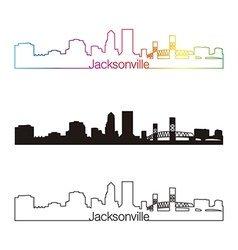 Jacksonville skyline linear style with rainbow vector