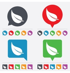 Leaf sign icon fresh product symbol vector