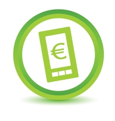 Green euro phone icon vector