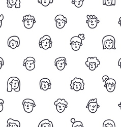 Boys and girls doodle faces seamless pattern vector