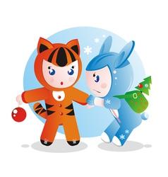 Children in costumes vector