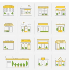 Store building icons set flat line vector