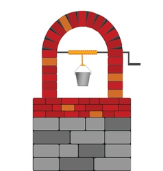 Draw well with red brick vector