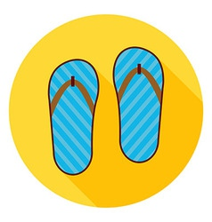Flat flip flops shoes circle icon with long shadow vector