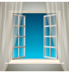 Opening window with sky and stars vector