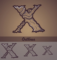 Halloween decorative alphabet - x letter vector